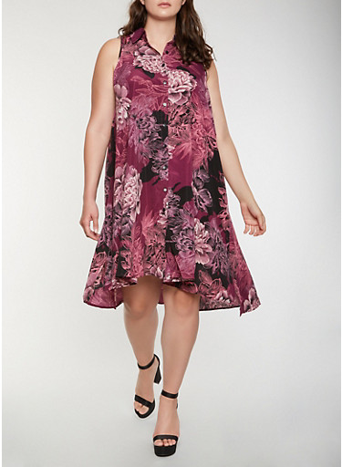 Plus Size Printed Shirt Dress,PURPLE,large
