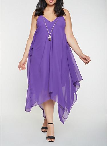 Plus Size Asymmetrical Dress with Necklace,PURPLE,large