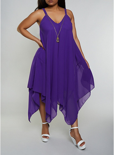 Plus Size Crepe Knit Asymmetrical Dress with Necklace,PURPLE,large