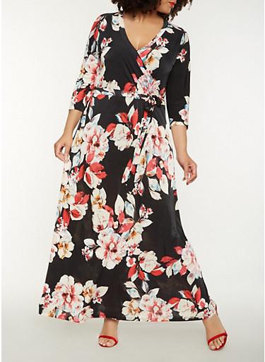 Plus Size Printed Faux Wrap Maxi Dress,BLACK,large