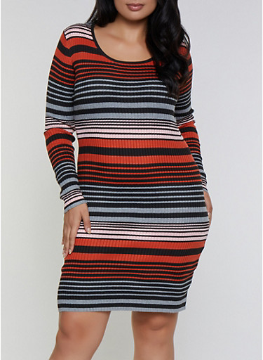Plus Size Striped Sweater Bodycon Dress,RUST,large