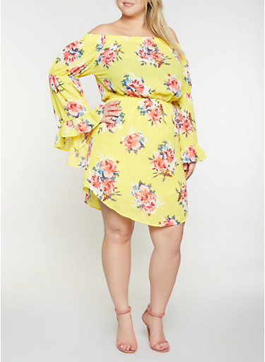 Plus Size Printed Off the Shoulder Dress,YELLOW,large