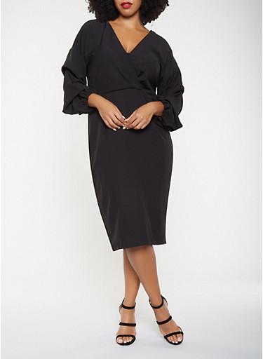 Plus Size Faux Wrap Ruched Sleeve Dress,BLACK,large