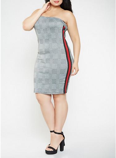 Plus Size Houndstooth Plaid Tube Dress,BLACK,large