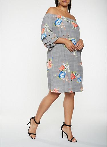 Plus Size Off the Shoulder Printed Dress,BLACK/WHITE,large