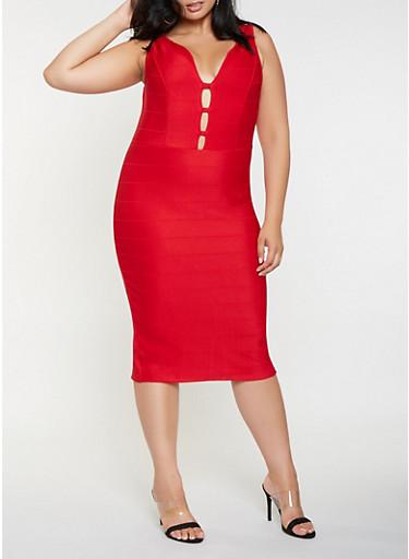 Plus Size Caged Bandage Dress,RED,large