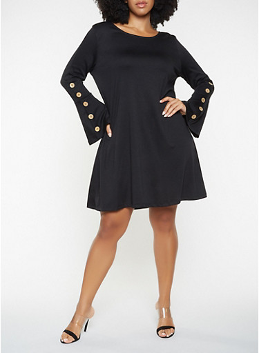 Plus Size Bell Sleeve Dress,BLACK,large