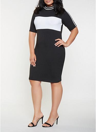 Plus Size Color Block T Shirt Dress,BLACK,large