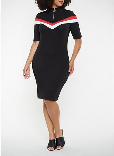 Plus Size Color Block Bodycon Dress,BLACK,large