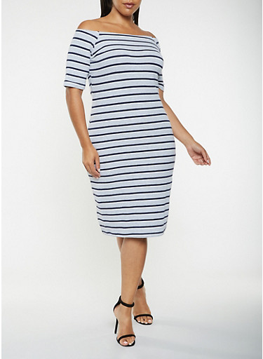 Plus Size Striped Off the Shoulder Dress,HEATHER,large