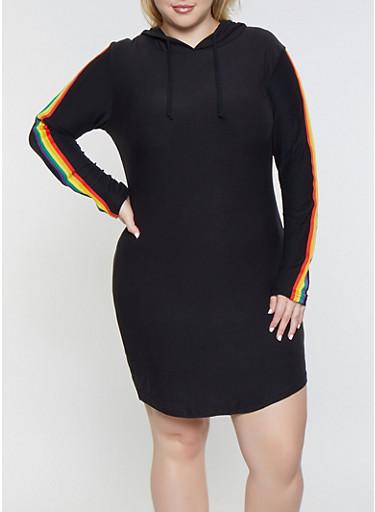 Plus Size Rainbow Striped Hooded Dress,BLACK,large