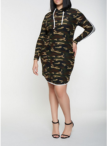 Plus Size Hooded Camo T Shirt Dress,OLIVE,large