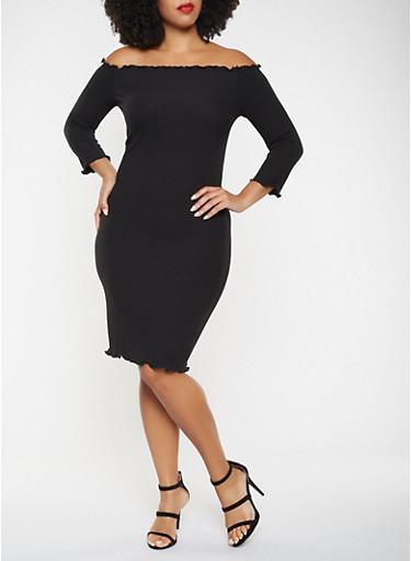 Plus Size Ribbed Knit Off the Shoulder Dress,BLACK,large