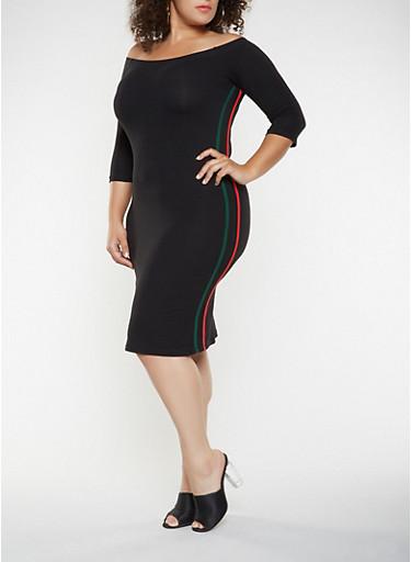 Plus Size Varsity Stripe Off the Shoulder Dress,BLACK,large