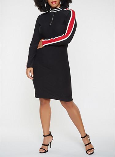 Plus Size Zip Neck Dress,BLACK/WHITE,large