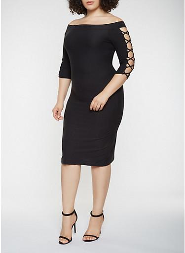 Plus Size Caged Sleeve Off the Shoulder Dress,BLACK,large