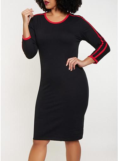 Plus Size Varsity Stripe T Shirt Dress,BLACK,large