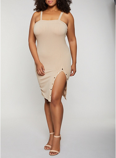 Plus Size Button Detail Ribbed Dress,NATURAL,large