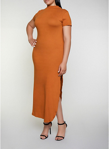 Plus Size Soft Knit Mock Neck Maxi Dress,RUST,large