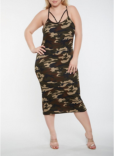Plus Size Caged Camo Bodycon Dress | Tuggl