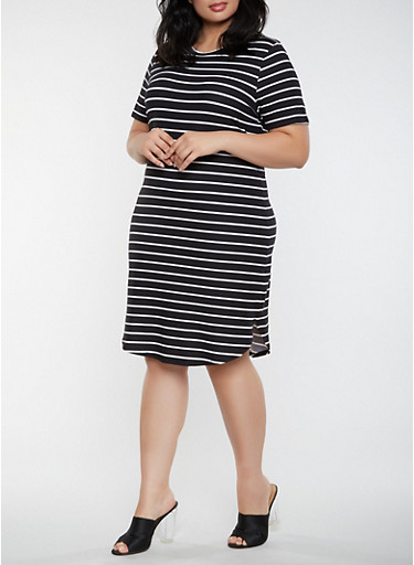 Plus Size Striped T Shirt Dress,BLACK/WHITE,large
