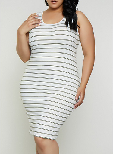 Plus Size Striped Tank Dress | 3390073373301