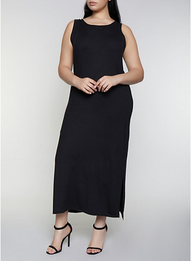 Plus Size Solid Side Slit Maxi Tank Dress