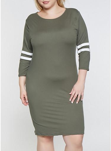 Plus Size Varsity Stripe Sleeve Midi Dress,OLIVE,large