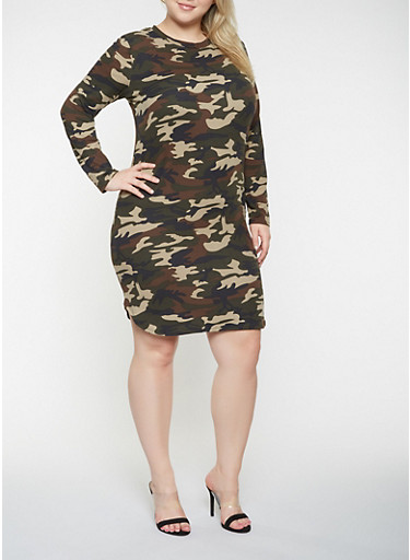 Plus Size Camo Long Sleeve Dress,OLIVE,large