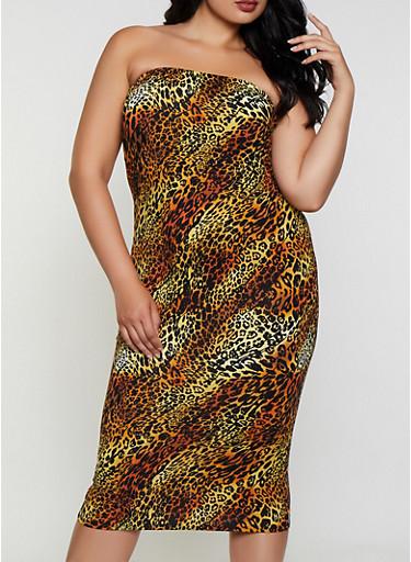 Plus Size Leopard Tube Dress,RUST,large