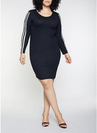 Plus Size Side Stripe Dress,BLACK,large