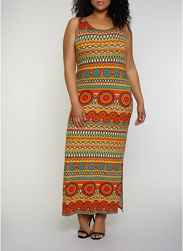 Plus Size Printed Soft Knit Tank Maxi Dress,RUST,large