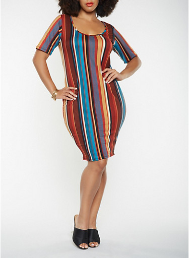 Plus Size Striped Soft Knit Bodycon Dress,RUST,large