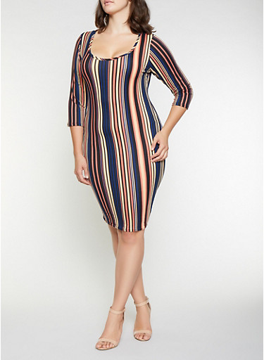Plus Size Striped Soft Knit Dress,BLUE,large