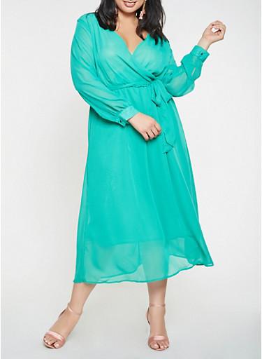 Plus Size Faux Wrap Chiffon Maxi Dress,KELLY GREEN,large