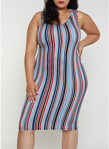 Plus Size Striped Tank Dress | 3390074281164,WINE,large