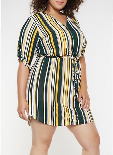 Plus Size Striped Zip Neck Dress,HUNTER,large