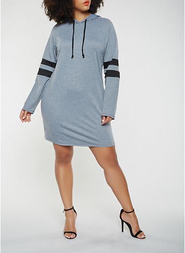 Plus Size Varsity Stripe Sweatshirt Dress,HEATHER,large