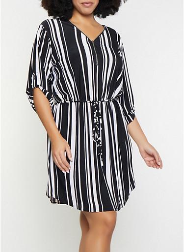 Plus Size Striped Zip Neck Dress,BLACK/WHITE,large