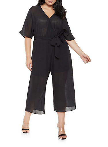 Plus Size Faux Wrap Cropped Jumpsuit,BLACK,large