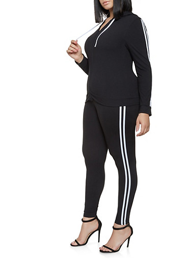Plus Size Varsity Stripe Sweatshirt and Leggings Set,BLACK/WHITE,large