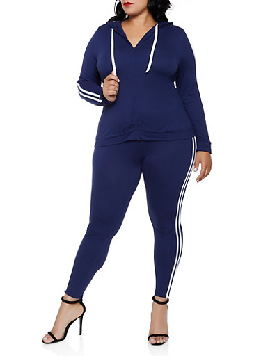 Plus Size Varsity Stripe Hooded Top and Leggings Set,NAVY,large