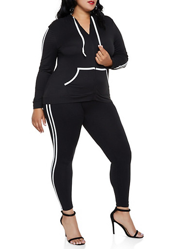 Plus Size Soft Knit Zip Hooded Top and Leggings,BLACK/WHITE,large