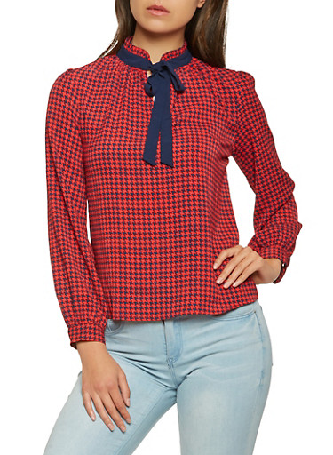 Houndstooth Print Tie Neck Blouse,RED,large