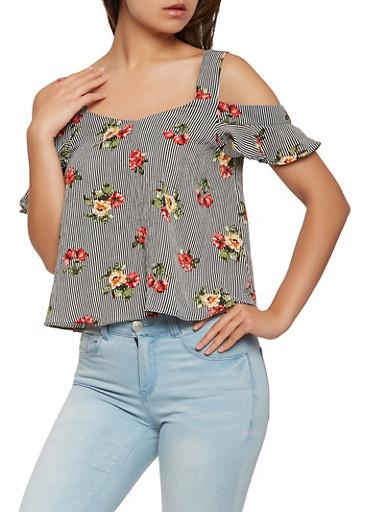 Floral Striped Cold Shoulder Top,BLACK,large