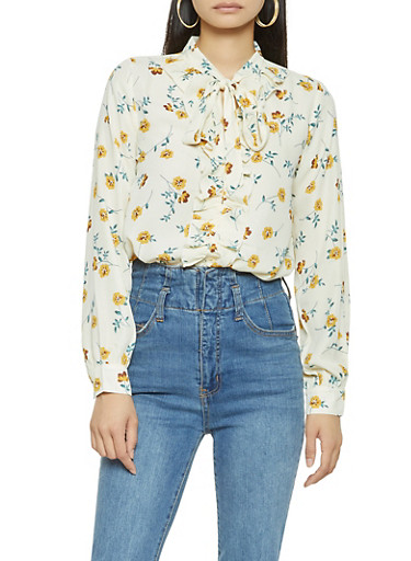Ruffled Floral Blouse,IVORY,large