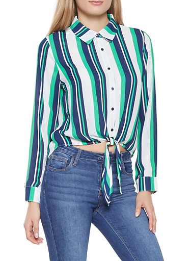 Striped Tie Waist Shirt,GREEN,large