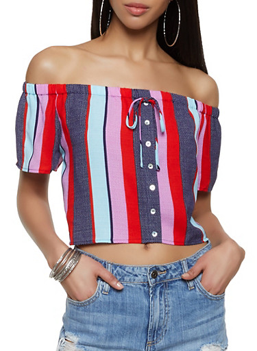 Striped Off the Shoulder Faux Button Top,MULTI COLOR,large
