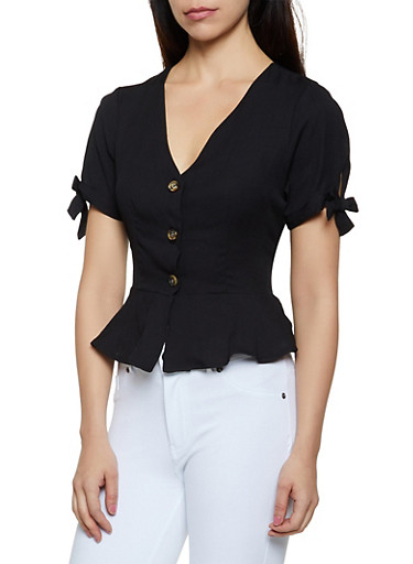 Button Front Linen Peplum Top,BLACK,large