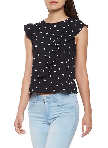 Polka Dot Ruffle Crepe Knit Blouse,BLACK/WHITE,large